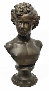 """BRONZE BUST OF A YOUNG MAN, UNSIGNED, 25"""" TALL 25"""" TALL"""