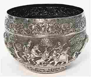 19THC. BURMESE OR ANGLO INDIAN SILVER HUNT BOWL