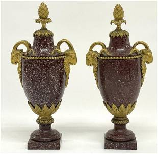 PR OF ORMOLU MOUNTED ROUGE MARBLE URNS FRENCH,