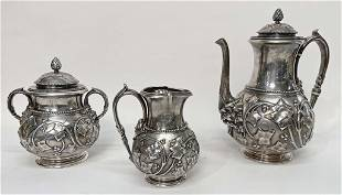 """TIFFANY STERLING SILVER """"CHASED IVY"""" COFFEE SET WITH"""