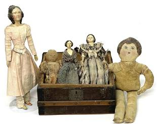"""FIVE EARLY DOLLS & DOLL TRUNK , 19THC. TALLEST 14"""""""