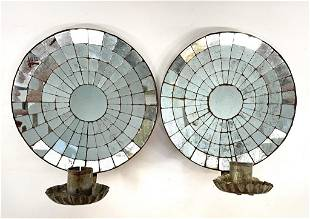 """PAIR OF 19THC. MIRRORED BACK CANDLE SCONCES 8"""" DIA"""