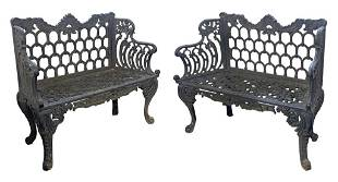 """PR OF CAST IRON HORSE SHOE WHITE HOUSE BENCHES 35"""" TALL"""
