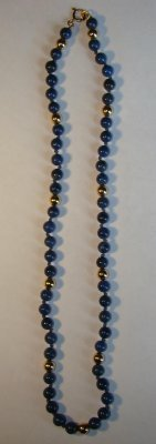 "1: 16"" Strand Of Lapis & Gold Beads With Additional Bea"