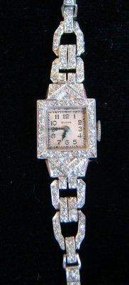 4: Platinum & Diamond Elgin Deco Watch & Pearl & White  - 2