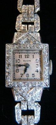 4: Platinum & Diamond Elgin Deco Watch & Pearl & White  - 3