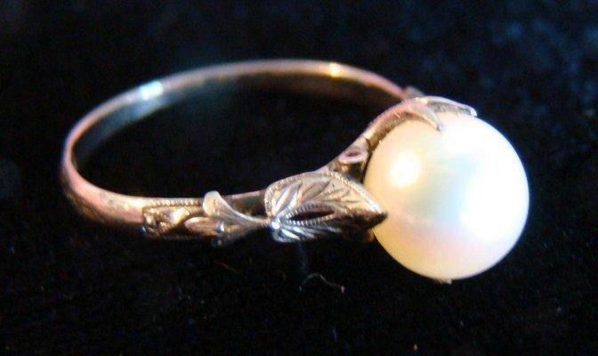 4: Platinum & Diamond Elgin Deco Watch & Pearl & White  - 6