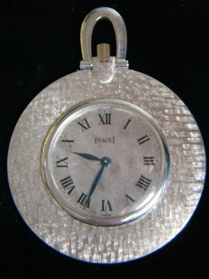 22: 18K White Gold Open Face Swiss Pendant Watch By Pia