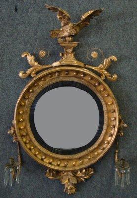156: Late 18Th Century Bullseye Mirror With Eagle Crest