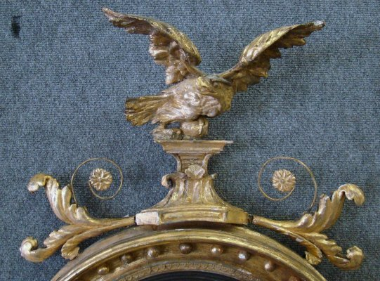 156: Late 18Th Century Bullseye Mirror With Eagle Crest - 2