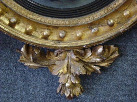 156: Late 18Th Century Bullseye Mirror With Eagle Crest - 3