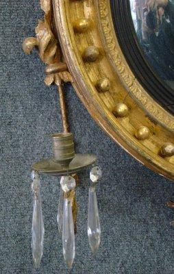 156: Late 18Th Century Bullseye Mirror With Eagle Crest - 4