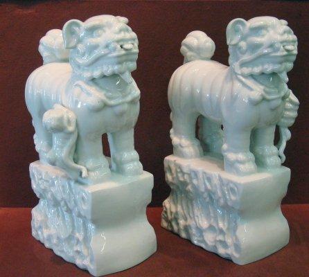 285: Pair Of Blanc De Chine Foo Dogs