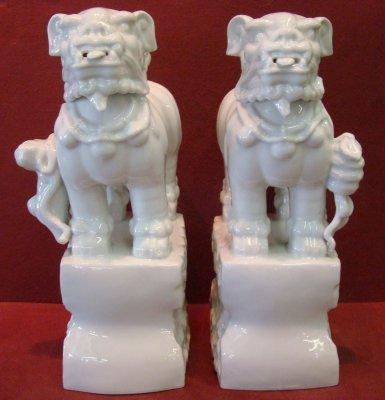 285: Pair Of Blanc De Chine Foo Dogs - 2