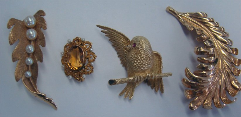 4: Four 14K Gold Pins, Two Leaf Pins, A Bird, One Facet