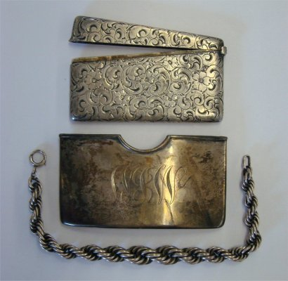 9: Sterling Including A Bracelet & Two Card Cases