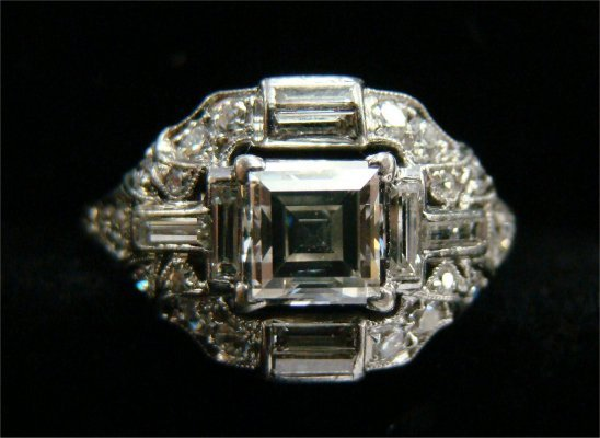 10: Ladies Platinum Asscher Cut Diamond Ring With Diamo
