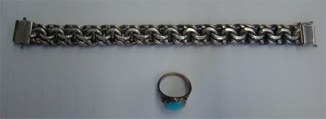 11: Mexican Silver Bracelet & Silver Ring With Turquois