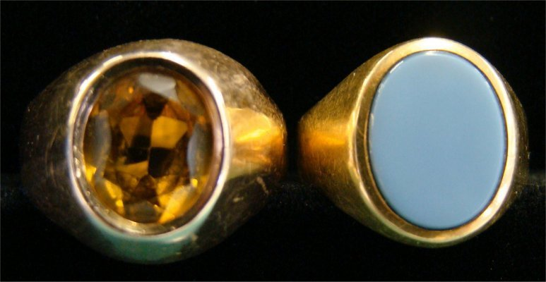 15: Two 14K Gold Mens Rings: One Citrine & One Mallorco