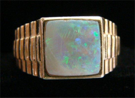 17: 18K Gold ID Bracelet & 14K Gold Square Stone Opal R