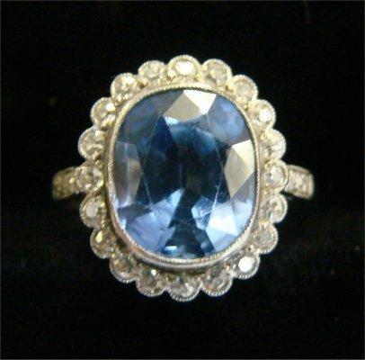 21: Platinum, Diamond & Blue Stone Ladies Cocktail Ring