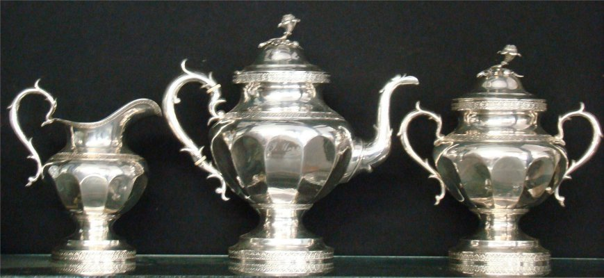 92: Three Piece Coin Silver Tea Service