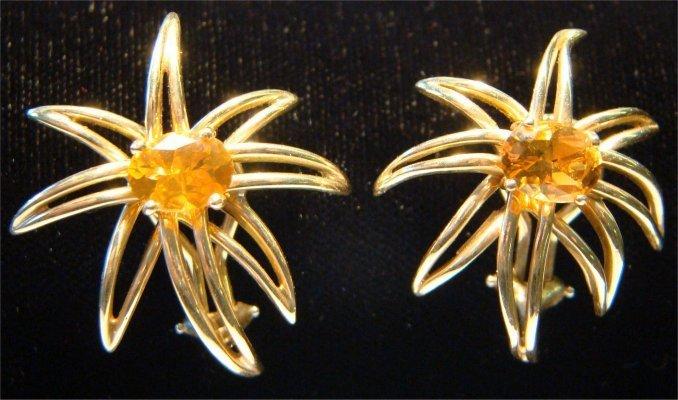 4: Pair Of Tiffany 18K Yellow Gold & Citrine Fireworks