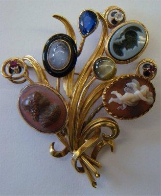 5: Custom 18K Yellow Gold Brooch w/ Gemstones & Cameos