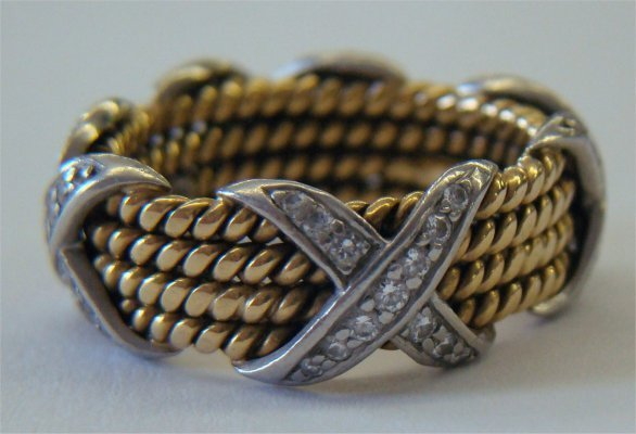 9: Tiffany & Co. Schlumberger 18K Gold & Diamond Band,