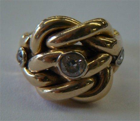 13: 14K Yellow Gold & Diamond Ring