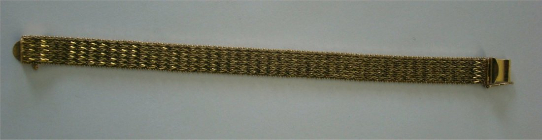 15: 14K Yellow Gold Mesh Bracelet Marked BBB