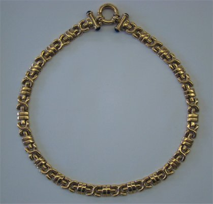 18: 14K Gold Necklace With Cabochon Sapphire Accents