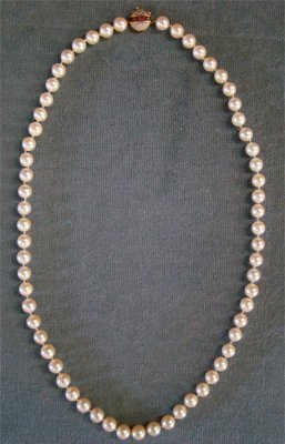 """20: 22"""" Long Pearl Necklace With Diamond & Ruby Clasp"""