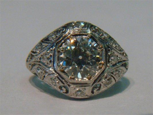 52: Platinum & Diamond Ladies Cocktail Ring