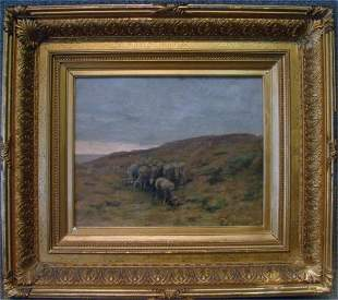 """115: O/C """"Sheep In A Landscape"""" Signed Ben Foster"""