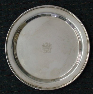 """144: Cartier 12"""" Sterling Silver Tray With Coat Of Arms"""
