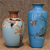 "205: Two Japanese Cloisonne Vases, 6"" & 7 3/4"""