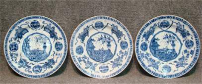 Three 19Th Century Oriental Blue & White Plates
