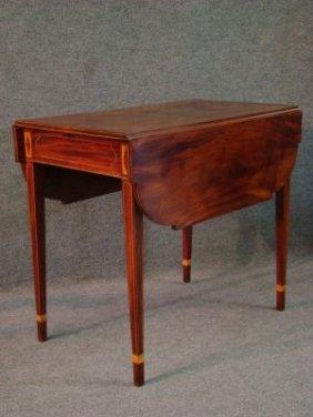 C. 1790 New York Mahogany Inlaid Pembroke Table