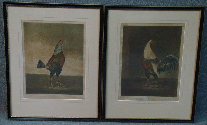 "4: Two Cock Fighting Prints ""War & Peace"", Sight Size:"