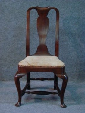 5: Boston Queen Anne Mahogany Chair With Compass Seat