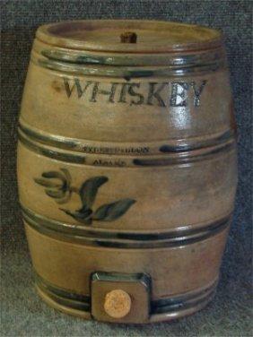 Tyler & Dillion Stoneware Incised Whiskey Barrel, 14