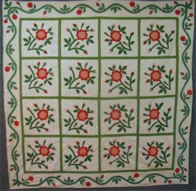 8: New York State Hand Stitched, Appliqued Flower Quilt