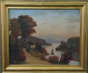 O/C Primitive Hudson River Landscape By Jos.Hidley