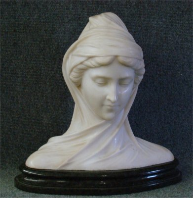 16: Grand Tour Marble Bust Of A Maiden, 15 3/4 Tall