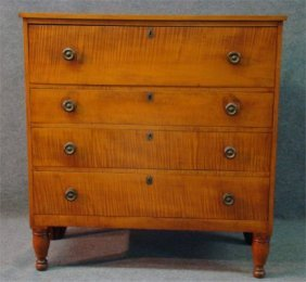 22: C.1830 Sheraton Cherry & Tiger Maple 4 Drawer Chest