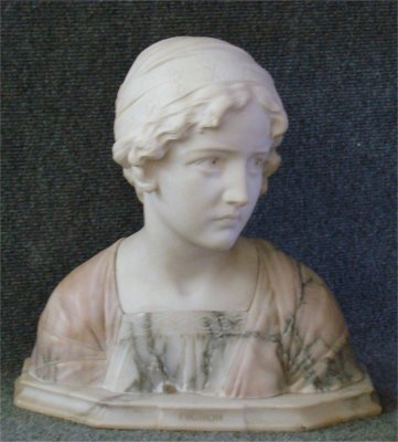 23: Finely Carved Alabaster Bust Of Mignon