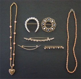 7: Five Pearl Pins & Two Necklaces