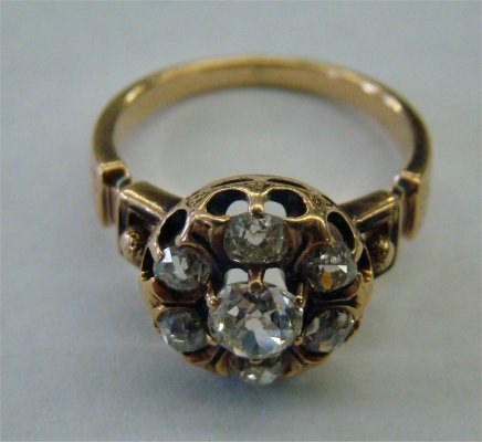 9: Victorian Yellow Gold Diamond Cluster Ring