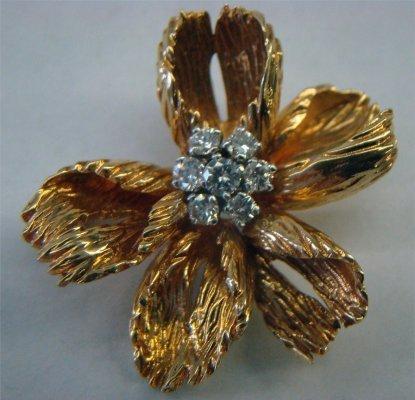 10: 18K Gold & Platinum Tiffany Flower Brooch With Seve
